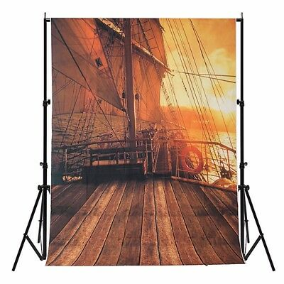 5X7FT Vinyl Backdrop Pirate Ship Photo Prop Studio Background Photography