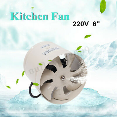 6'' Inline Duct Booster Fan Exhaust Air Cooling Vent Blower Kitchen Noiseless