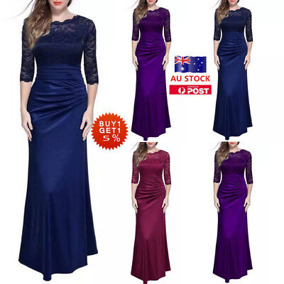 Women Lace 3/4 Sleeve Maxi Dress Evening Party Cocktail Prom Formal Long Dress