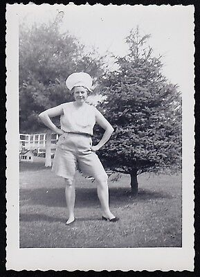 Vintage Antique Photograph Woman In Crazy Hat Standing in Backyard