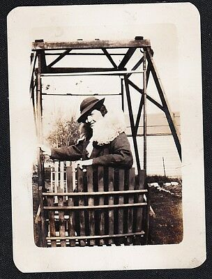 Vintage Antique Photograph Woman Sitting in Glider Swing in the Backyard