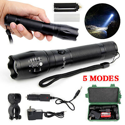 25000LM Military Flashlight XM-L T6 LED Rechargeable Zoomable Hunting Zoom Torch