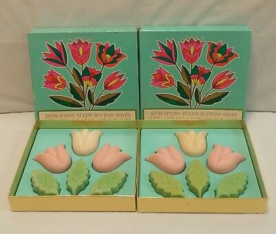 Lot of 2 Avon Spring Tulips Hostess Soaps Sets in Original Boxes