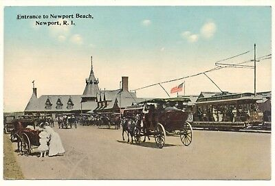 Postcard USA Rhode Island RI Entrance to Newport Beach carriages trams unposted