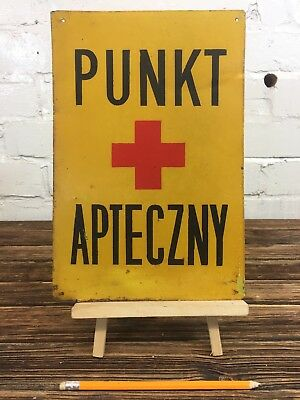 """Vintage Metal Sign """"Pharmacy Point"""" Made in Poland Plaque Apothecary Signage"""