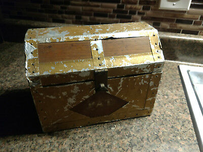 Covered Box Arts and Crafts Era HAMMERED Aluminum & Wood Vintage Jewlery Tools