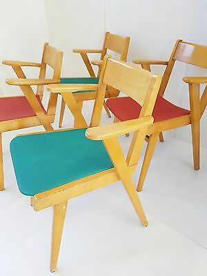 Suite De 4 Chaises Fauteuils Bridge 1950 Vintage 50S Zazou Rockabilly Chairs