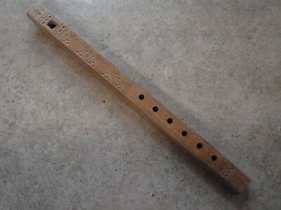 """Vintage Flute Hand Carved Wooden Whistle 12"""" Square Design from Maine FREE Shipg"""