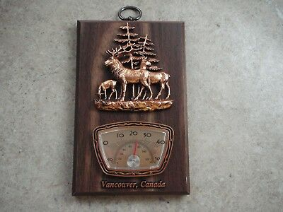"Canada Vintage Thermometer Vancouver Wooden Plague w Copper Deer Figures 7"" x 4"""