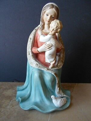 Beautiful Vintage Porcelain Madonna And Child Made In Italy Hand Painted 9 1/2""