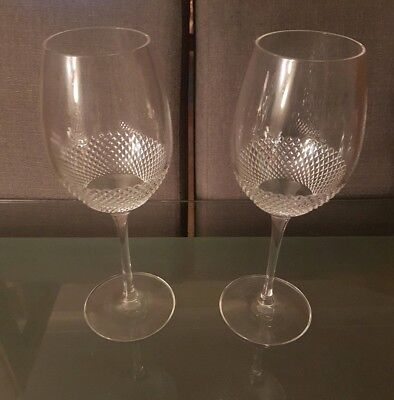 Pair of Waterford Clear Cut Crystal John Rocha Wine Glasses