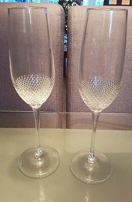 Pair of Waterford Crystal John Rocha Champagne Flutes/Glasses