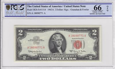 $2 1963-A Red Seal Legal Tender Currency Graded PCGS GS 66 OPQ FR# 1514 UNC Gift