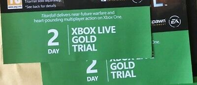 BUNDLE OF 2 x  XBOX LIVE GOLD 2 DAY TRIAL CODE codes - EMAIL/message TRANSACTION