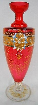 Vintage Cranberry Glass Vase With Gold And Enamel Band - Draped In Golden Lace