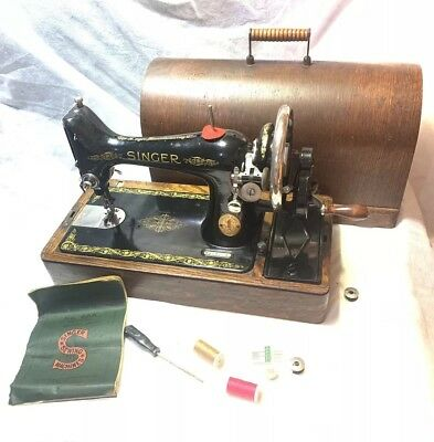 Vintage SERVICED 1923 SINGER 66K Model Hand-Crank Sewing Machine With Carry Case