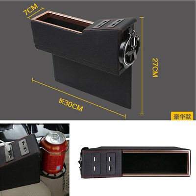 Car Co-pilot Seat Storage Box Cup Holder With 4 USB Charger Coin Card Organizer