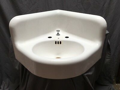 Large Antique Cast Iron White Porcelain Corner Sink Vtg Bath Kohler Old 637-18E