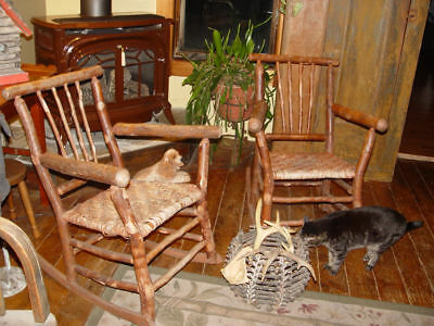 Signed 2 Old Hickory rockers, orig condition w/ old red paint ~ Martinsville IN