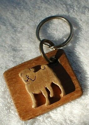 Here Is A Wooden Pug Key Ring
