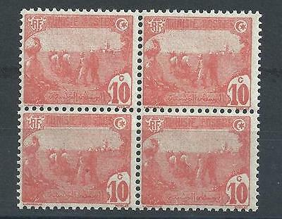 Tunisia 1906 Sc# 34 wrong color perf 13.5x14 block 4 MNH