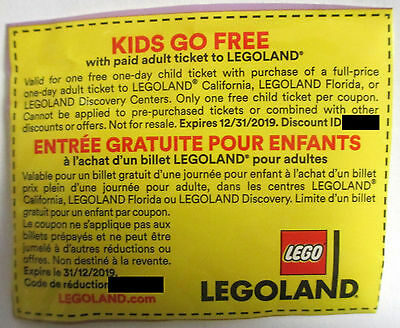 Legoland California Florida Discovery Kids Ticket Free EXP 12/31/2019