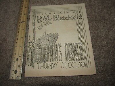 Post WWII USAT General RM Blatchford Captains Dinner Menu