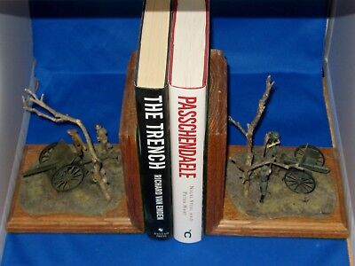 Custom made WWI solid oak Bookends with British QF 18 & German 96 n/A Field Guns