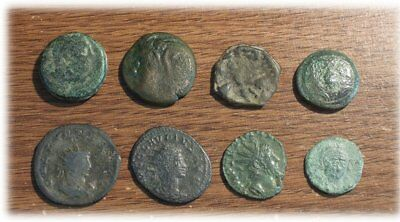 Lot of 8 Ancient Greek and Roman Bronze Coins