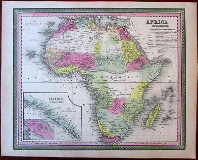 Africa continent Mts. of Moon c. 1850 Tanner lovely old hand color litho map