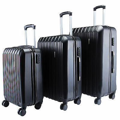 3Pcs Luggage Travel Set Bag ABS Trolley Spinner Carry on Suitcase with Lock