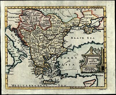 Hungary Turkey Balkans c. 1760 Jefferys Europe 18th century lovely color old map
