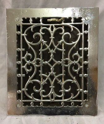 Antique Chrome Cast Iron Heat Grate Floor Register 10X12  Vtg Old 678-18C