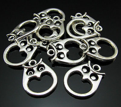 Free bails Crafts Owl Pendant Connector spacer Links 22mm Tibetan Silver 10PCS