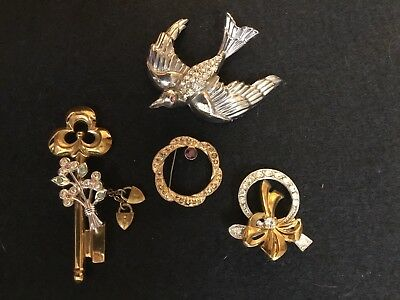 LOT Of Four Vintage Antique Pins~Brooches~Rhinestones~Gold ~Silver~BIRD~KEY~CORO