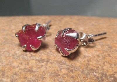 Sterling silver everyday rough ruby 8x6mm approx, STUD earrings. Gift bag.