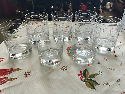 7 Vintage Tastesetter by Sigma Double Old Fashioned Rocks Glasses CHRISTMAS TREE
