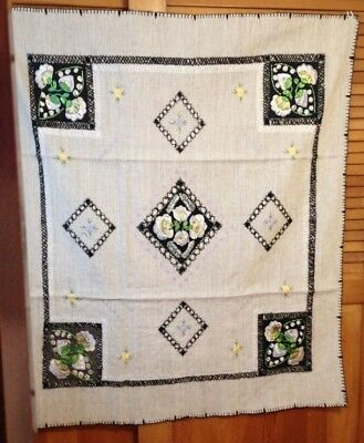 Vintage Hand Embroidered Tablecloth Ethnic Design from Romania