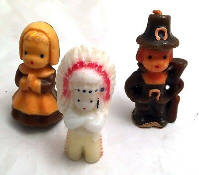 vintage 1950s Pilgrim candles, Gurley, Buffalo, w/ unmarked third figure