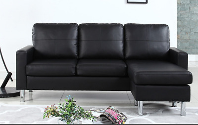 SMALL SECTIONAL SOFA Chaise Ottoman Black Leather Compact ...
