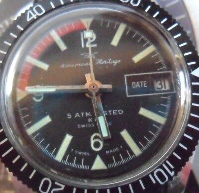 Clean 1960's Vintage American Heritage Diver's 5ATM Swiss Mechanical Watch Runs