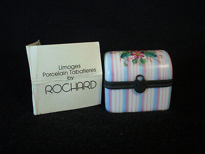 Hand Painted Rochard Trinket Box Chest Limoges France Chest Pad Lock Tabatieres