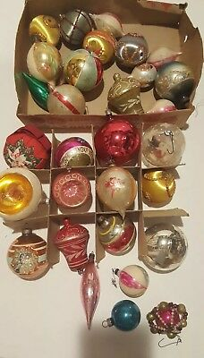 Lot of 28 Vintage Shiny Brite West Germany Beaded Glass Christmas Ornaments