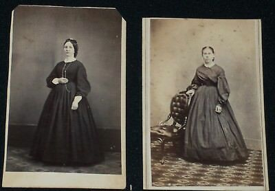 2-Vintage Civil War Era CDV Photos of Standing Women/Rev. Stamps/N.Y. & Ind.