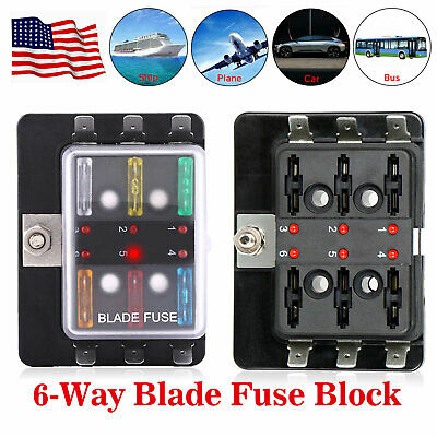 Incredible Universal Led Illuminated Automotive Blade Fuse Holder Box 6 Circuit Wiring 101 Tzicihahutechinfo