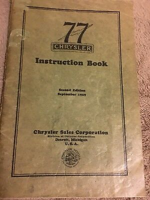 1929 Chrysler Model 77 Owmers Manual and Instruction