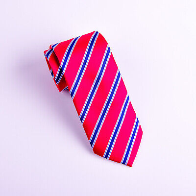 Red & Blue Striped Classic Width Tie 8cm Necktie Standard Wide Top Boss Fashion
