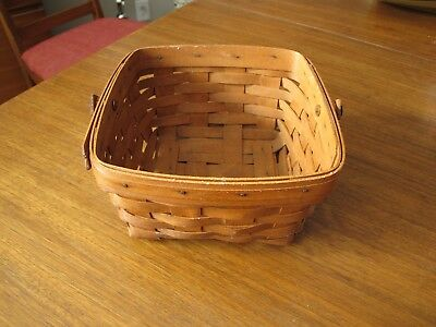 Longaberger 1989 Square Berry Basket With Swing Handle Ohio signed