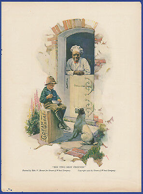Vintage 1922 CREAM OF WHEAT His Two Best Friends Edward V. Brewer Art Print Ad