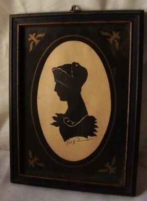 """AAFA Antique Primitive Silhouette French Lady Signed Black Frame 8"""" X 5"""""""